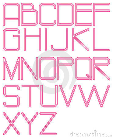 Alphabet rounded neon