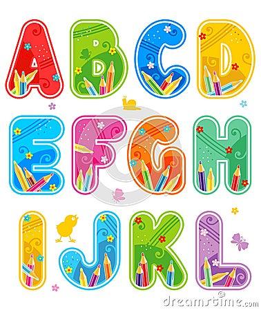 Alphabet set letters A - L
