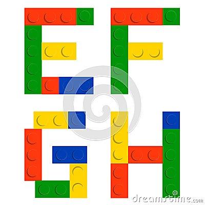 Alphabet set made of toy construction brick blocks