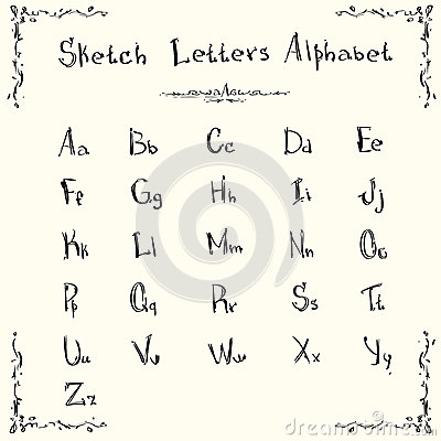 Alphabet Small Capital Letters Collection Sketch Hand Drawn Set ...