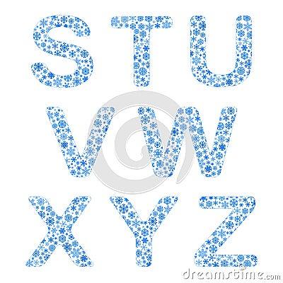 Alphabet from snowflakes