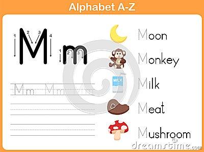 Alphabet Tracing Worksheet Stock Vector - Image: 44028348