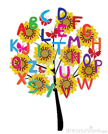 Illustration of a tree with alphabet letters and flowers.