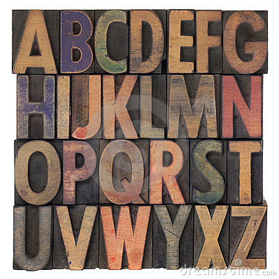 Alphabet in vintage wooden letterpress type