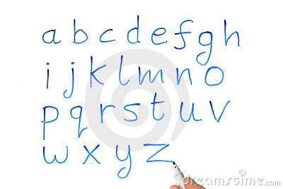 The alphabet on a whiteboard.