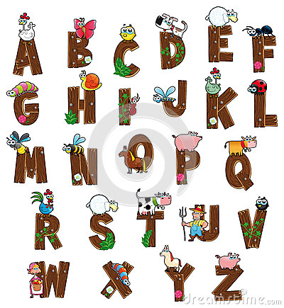 Free Alphabet With Animals And Farmers. Royalty Free Stock Photography - 25336717
