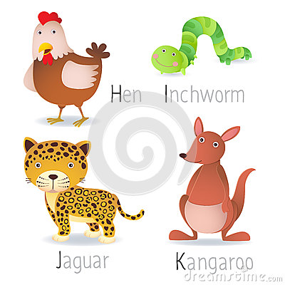 Free Alphabet With Animals From H To K Set 2 Stock Photos - 57235133