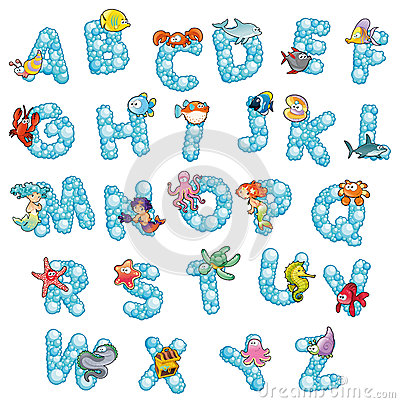 Free Alphabet With Fish And Bubbles. Stock Images - 25342534
