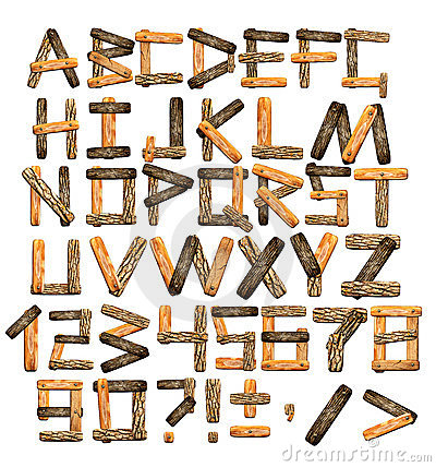Alphabet from wooden boards and bark
