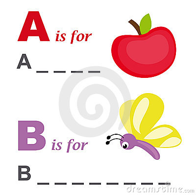 Alphabet word game: apple and butterfly