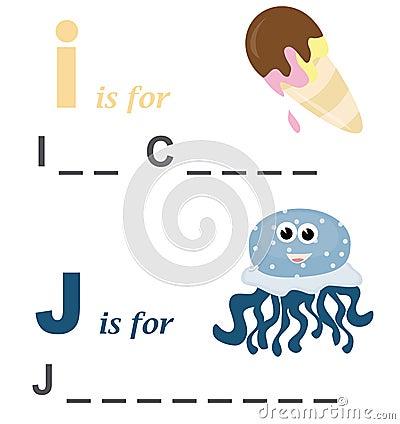 Alphabet word game: ice cream and jellyfish