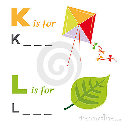 Alphabet word game: kite and leaf