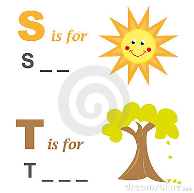 Alphabet word game: sun and tree