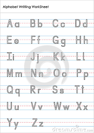 Alphabet Writing Practice Worksheet Stock Illustration - Image ...