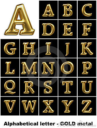 Alphabetical letters in gold metal