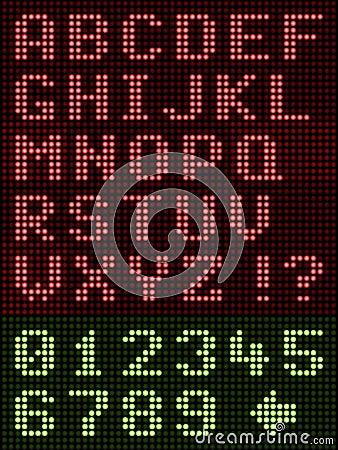 Alphanumeric Alphabet Font Led Display On Black Stock