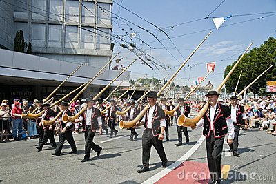 Alphorn parade Editorial Image