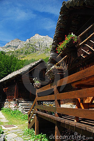 Alpine architecture, Alpe Devero. Italian Alps