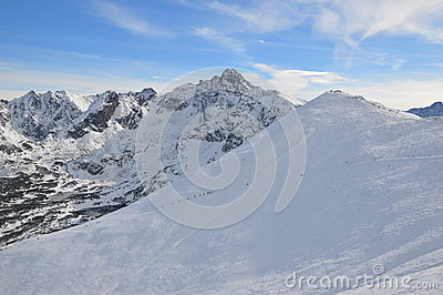 Alpine Hikers On Snowy Mountain Free Public Domain Cc0 Image