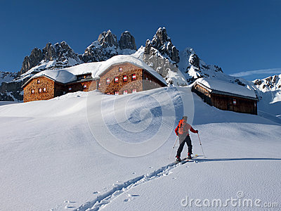 Alpine hut in the winter