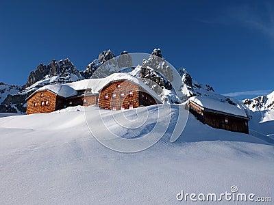 Alpine hut in the winter