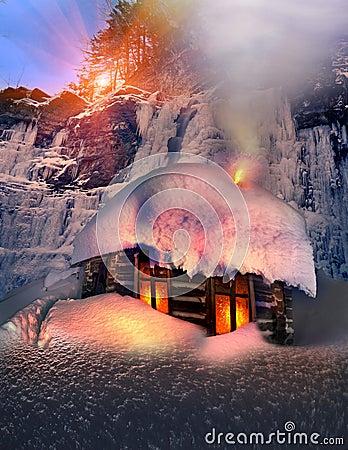 Alpine hut in the wild forests
