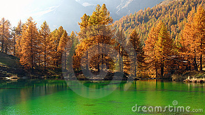 Alpine Lake in autumn, Breuil-Cervinia, Italy