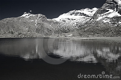 Alpine lake in infrared b&w