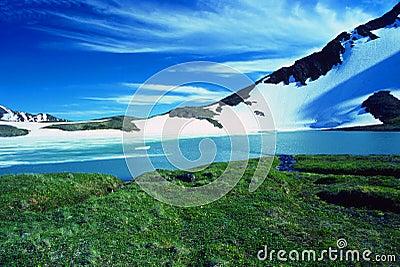 Alpine lake at a mountain pass