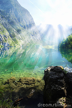 Alpine Lake With Sun Rays Stock Photography - Image: 11599412