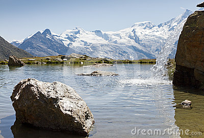 Alpine lake with waterfall