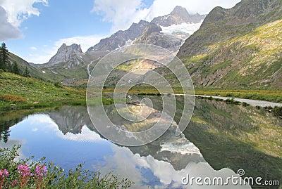 Alpine landscape reflected in lake