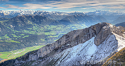Alpine mountain panorama,