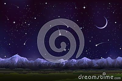 Alpine night panorama