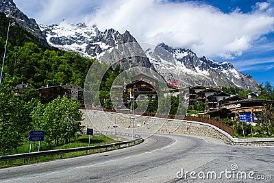 Alpine Resort Courmayeur, Italy Editorial Photo