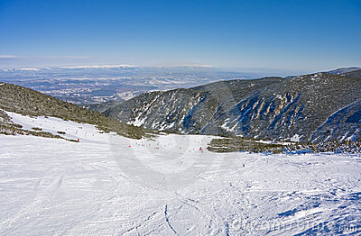 Alpine ski slope at winter Bulgaria