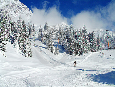 Alpine Skiers on snowy slopes