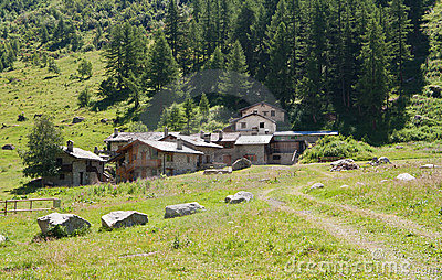 Alpine stone village