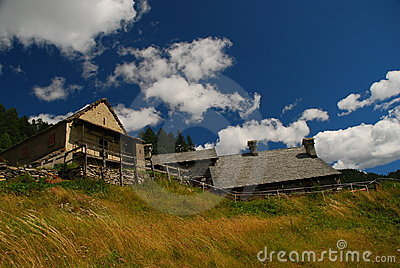 Alpine typical architecture. Italian Alps