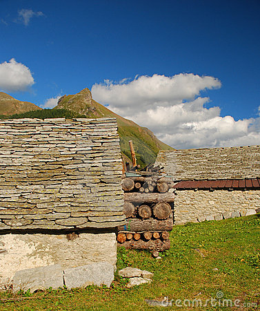 Alpine typical stone architecture, Alpe Veglia.