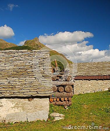 Alpine typical stone architecture, Alpe Veglia.