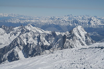 Alpine view from top of Mont Blanc