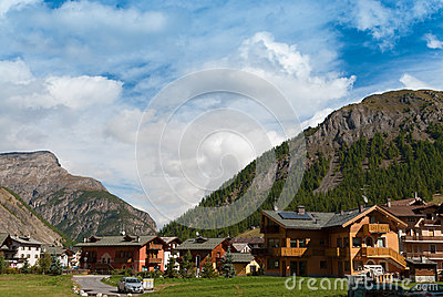 Alpine village in Italy-Livigno Editorial Stock Image