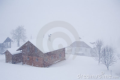 Alpine village in the snow