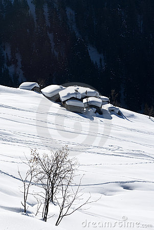 Alpine village under snow