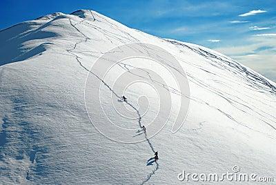 Alpinists climbing a mountain