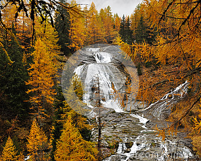 Alps autumn landscape and waterfall 3