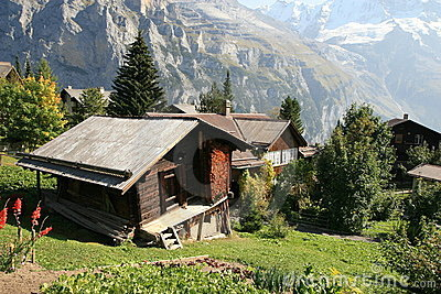 Alps hut in Murren Switzerland