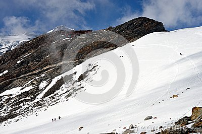 Alps - Mount Rosa landscape with climbers and Gnifetti mountain dew