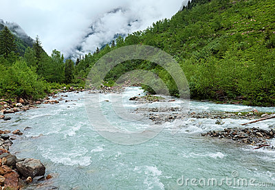 Alps river summer view